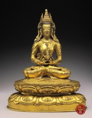 A GILT BRONZE FIGURE OF AMITAYUS (MONGOLIAN)