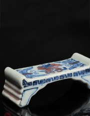 UNDERGLAZED RED, BLUE & WHITE BRUSH HOLDER with WANLI MARK & PERIOD
