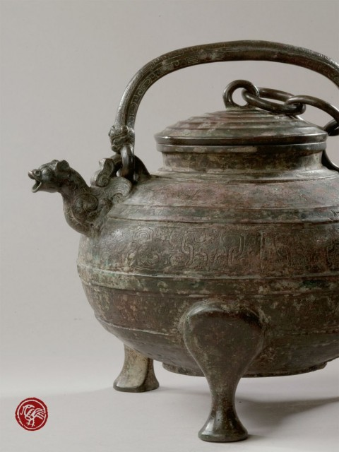 ARCHAIC BRONZE EWER, HE, WITH ANIMAL HEAD SPOUT AND COPPER INLAID